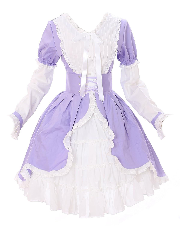 M de 516Violet, Blanc, Gothique Lolita Cosplay Costume Robe pour Femme Rococo
