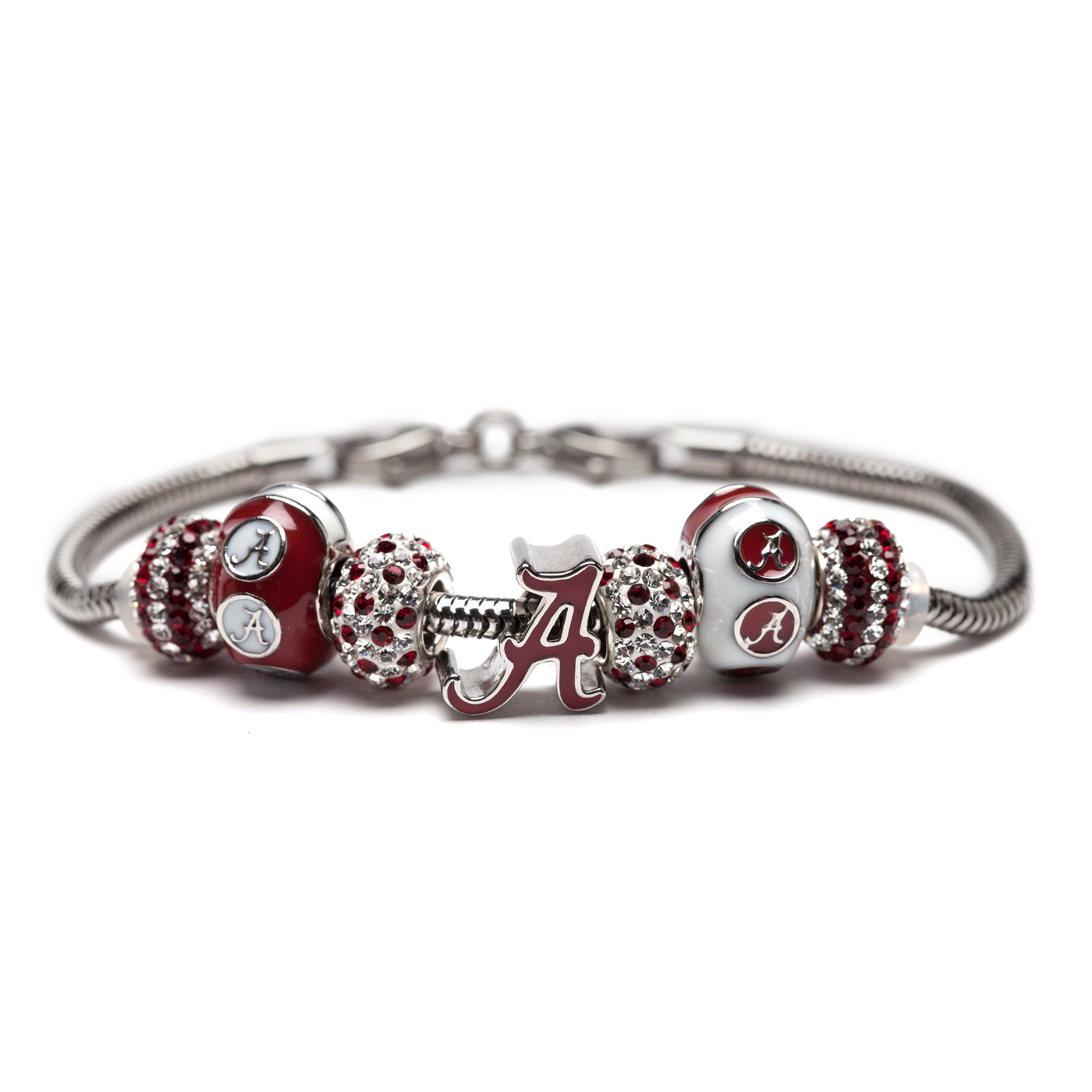 University of Alabama Charm Bracelet | Crimson Tide Gifts | Stainless Steel Alabama Jewelry | Alabama Logo Charm Bracelet