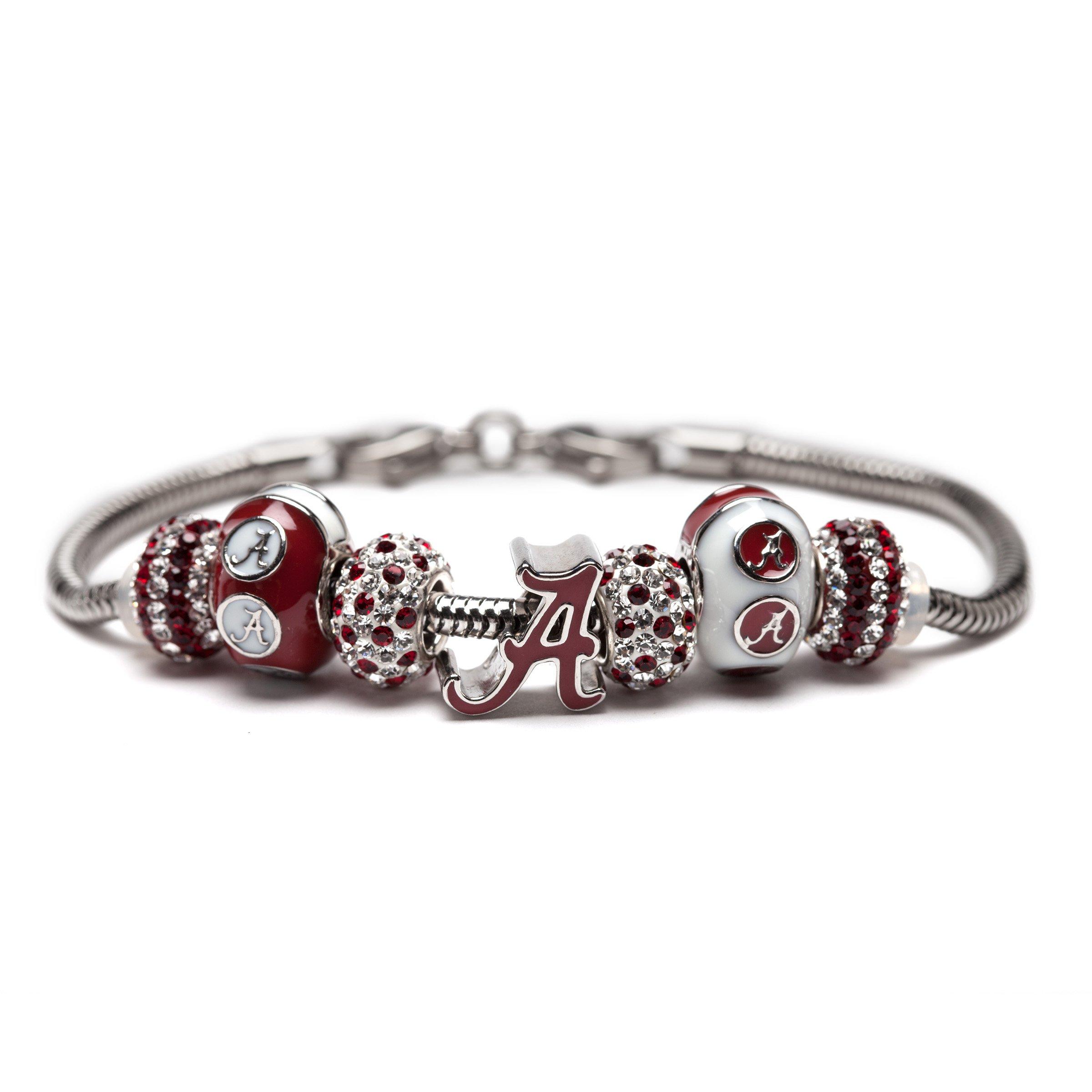 University of Alabama Charm Bracelet | Crimson Tide Gifts | Stainless Steel Alabama Jewelry | Alabama Logo Charm Bracelet by Stone Armory