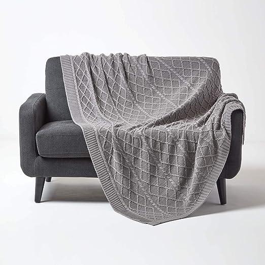 HOMESCAPES - Manta de Punto para Cama o sofá (100% algodón ...