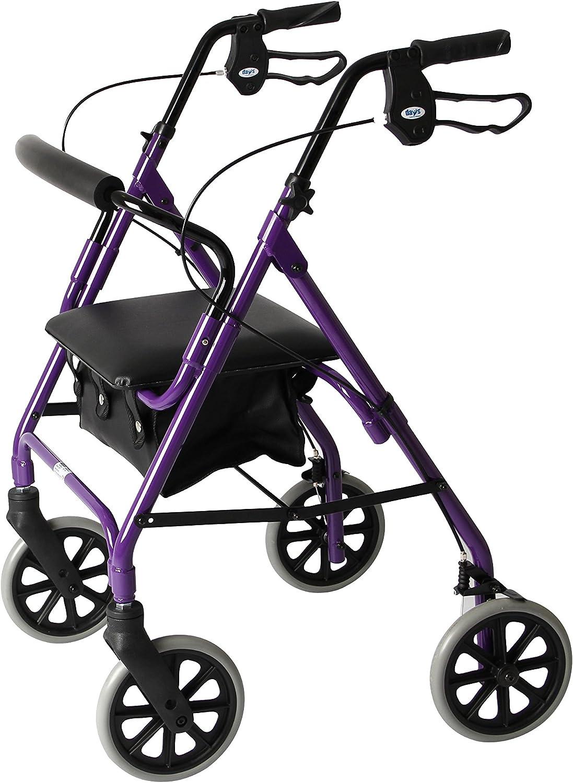 Days - Andador ligero plegable de cuatro ruedas con asiento acolchado, frenos bloqueables, asas ergonómicas y bolsa de transporte, ayuda a la movilidad, tamaño mediano, color morado
