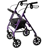 Days Lightweight Folding Four Wheel Rollator Walker with Padded Seat, Lockable Brakes, Ergonomic Handles, and Carry Bag, Limited Mobility Aid, Purple, Medium, (Eligible for VAT relief in the UK)