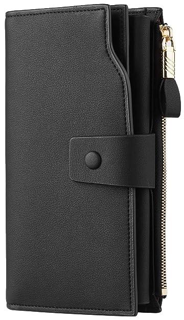 10773c9a1793 Travelambo Womens RFID Blocking Large Capacity Luxury Waxed Genuine Leather  Clutch Wallet Multi Card Organizer (