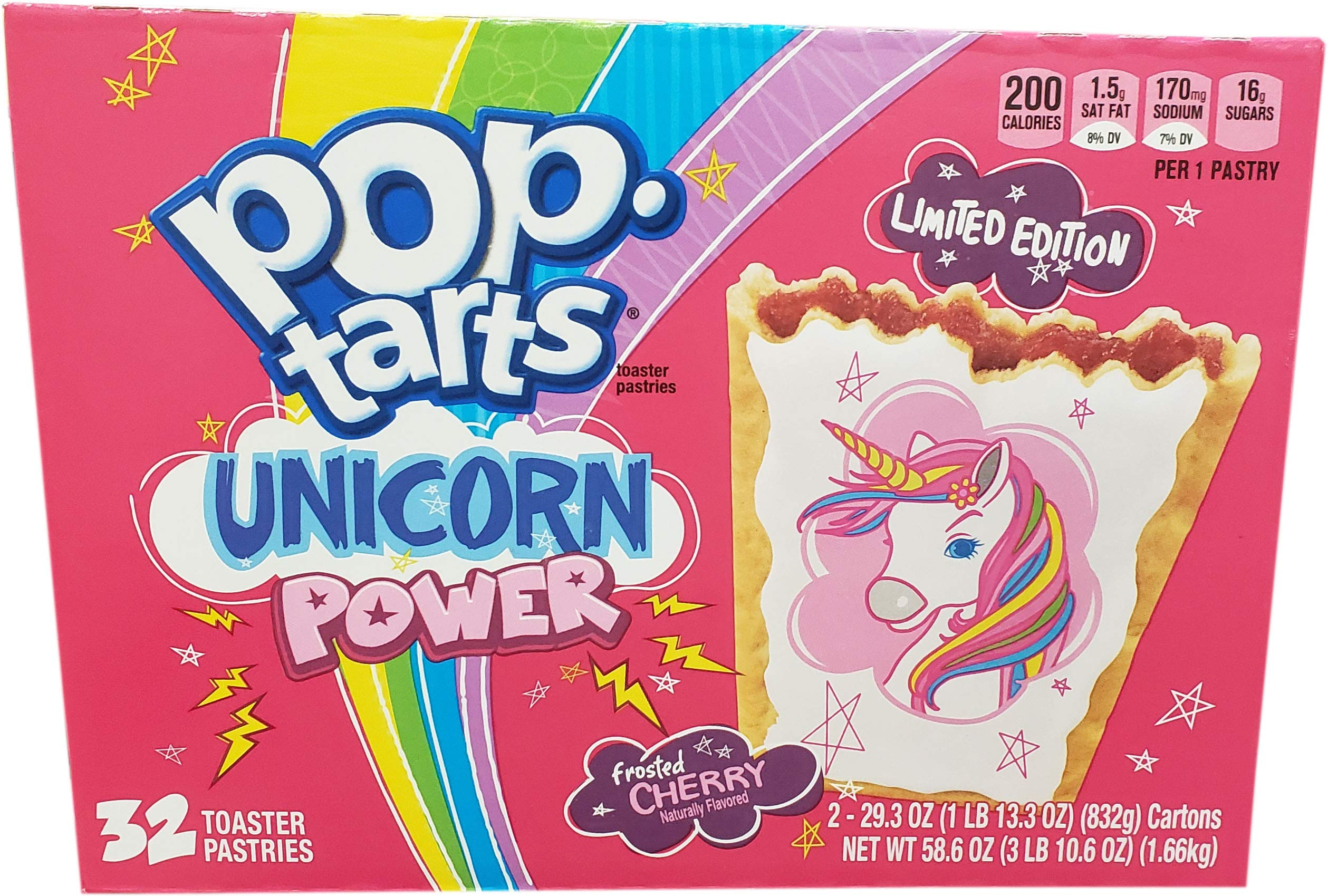 Kelloggss Poptarts Unicorn Power 32 Piece Limited Time Offer Toaster Pastries 586 Ounce