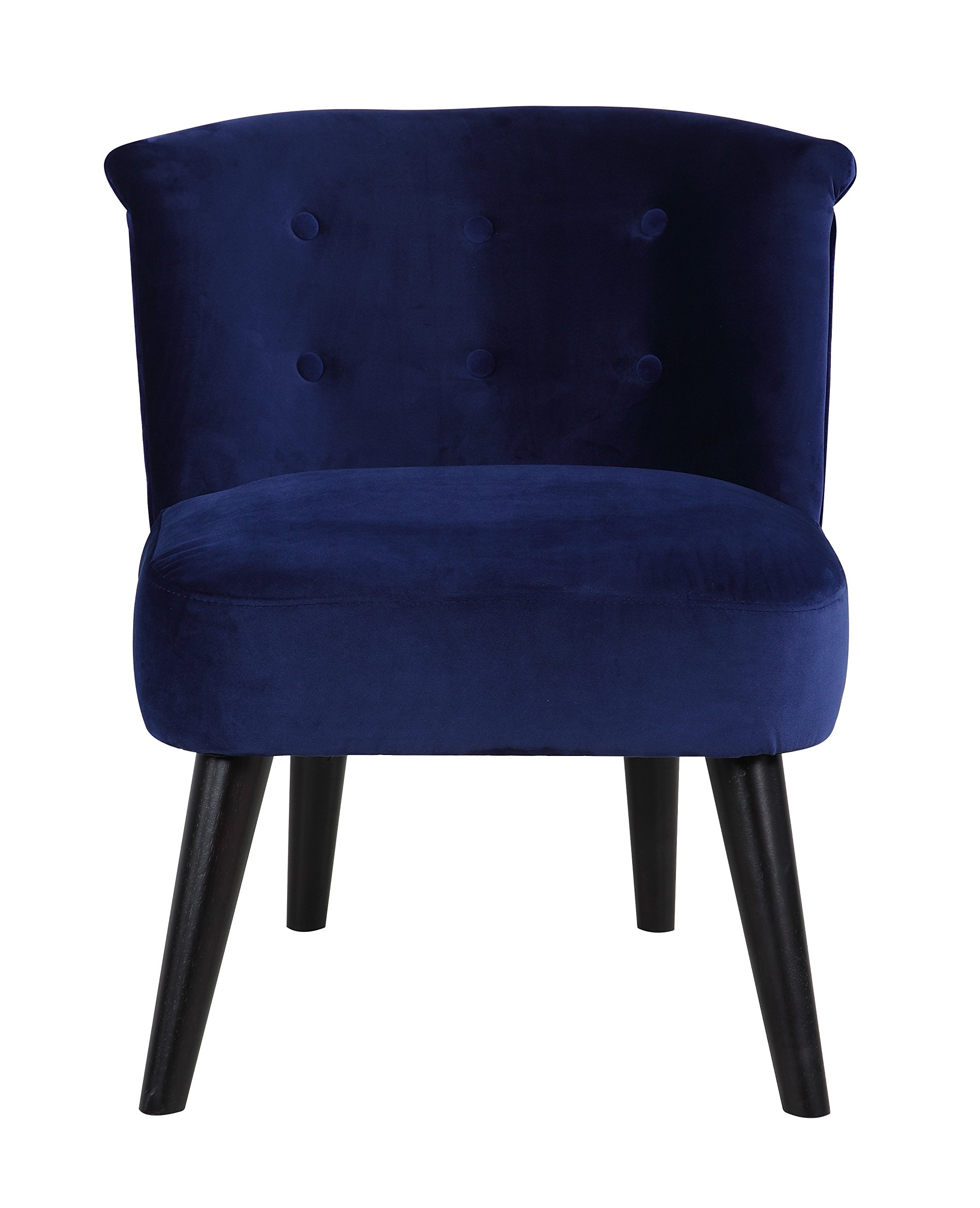 Divano Roma Furniture Classic and Traditional Living Room Velvet Fabric Accent Chair with Tufted Details (Navy) - Classic and traditional style accent chair with tufted button details Soft and durable velvet upholstery with pleated back rest details Simple and clean design with dark wooden legs to compliment the rest of your home decor - living-room-furniture, living-room, accent-chairs - 81jy46JE3NL -
