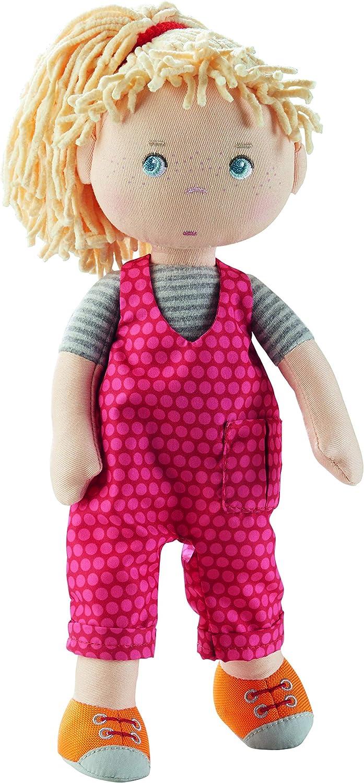 Puppe Cassie HABA 305408 Puppe f/ür Kinder ab 18 Monaten 30 cm waschbaren Materialien mit Latzhose und Zopfgummi Stoffpuppe aus weichen