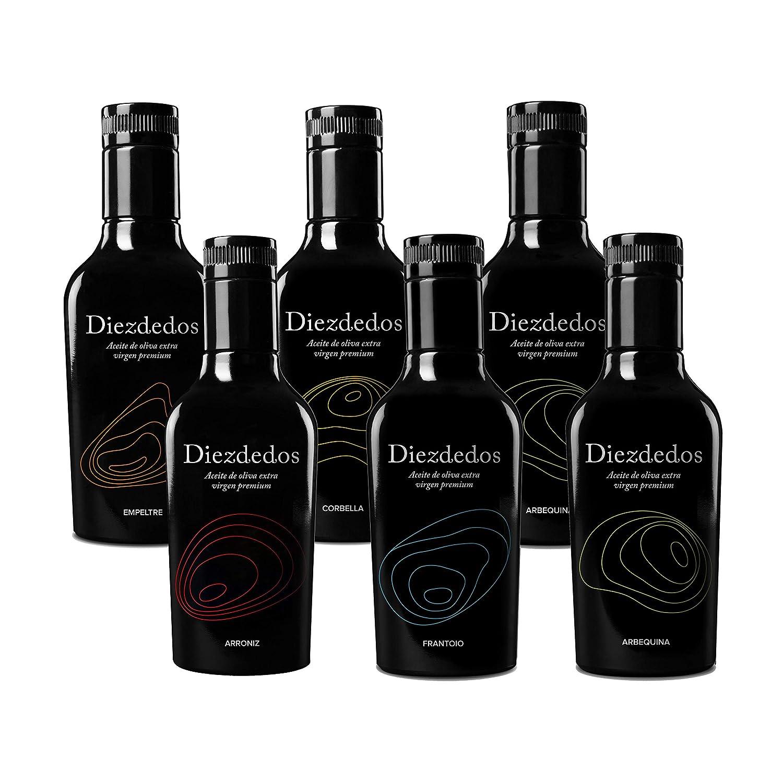 Aceite de Oliva Virgen Extra Premium Diezdedos - 5 Variedades - Caja variada de 6 botellas 250 ml (pack de 6) Libro de maridaje de nuestros aceites: ...