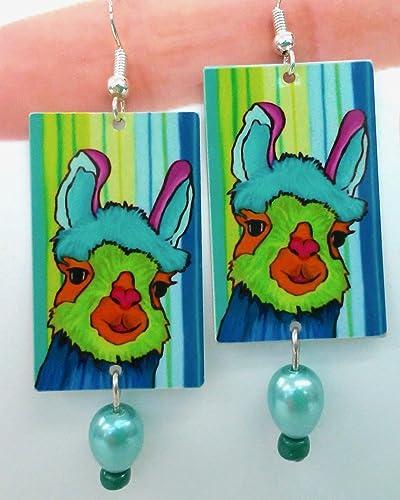 34cd2c1a5 Amazon.com: No Drama Llama, Llama Gifts, Blue Earrings, Llama Earrings, Sterling  Silver Ear Wires, Great for Llama Lover, From Original Art, Free Shipping!: