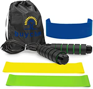 Resistance Loop Bands Home Fitness - 3 Pcs Workout Resistance Exercise Bands 1 Mesh Carrying Bag 1 Workout Leaflet 1 Massage Ball and Adjustable Jumping Rope for Fitness Yoga Therapy Strength Training