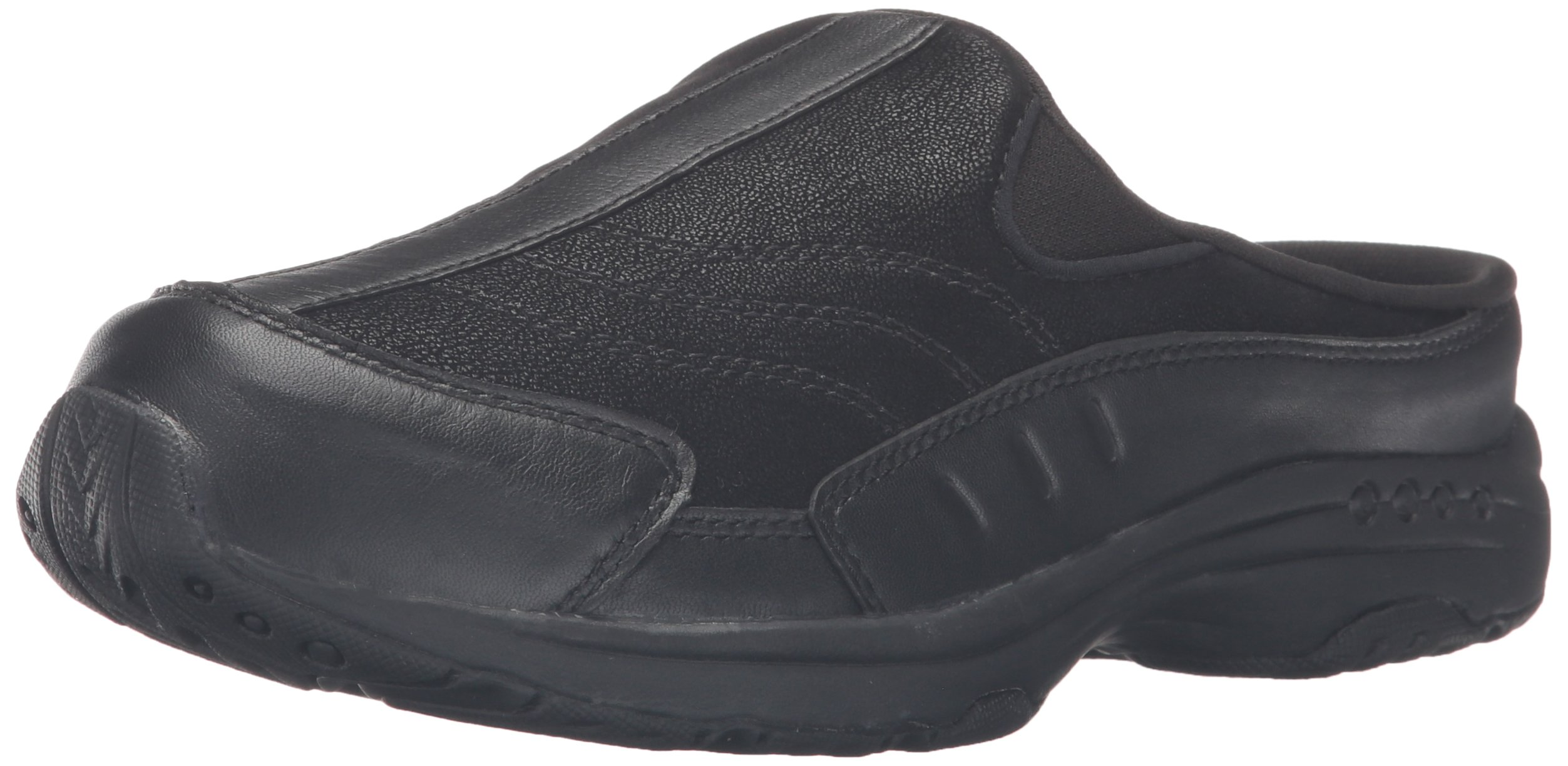 Easy Spirit Women's Traveltime Clog, Black/Black Leather, 9 M US