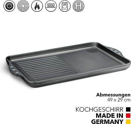 Gran placa de aluminio fundido para inducción, 49 x 29 cm, placa revestida, placa de inducción, accesorio de parrilla para placa de cocina, plancha antiadherente, parrilla apta para inducción: Amazon.es: Hogar