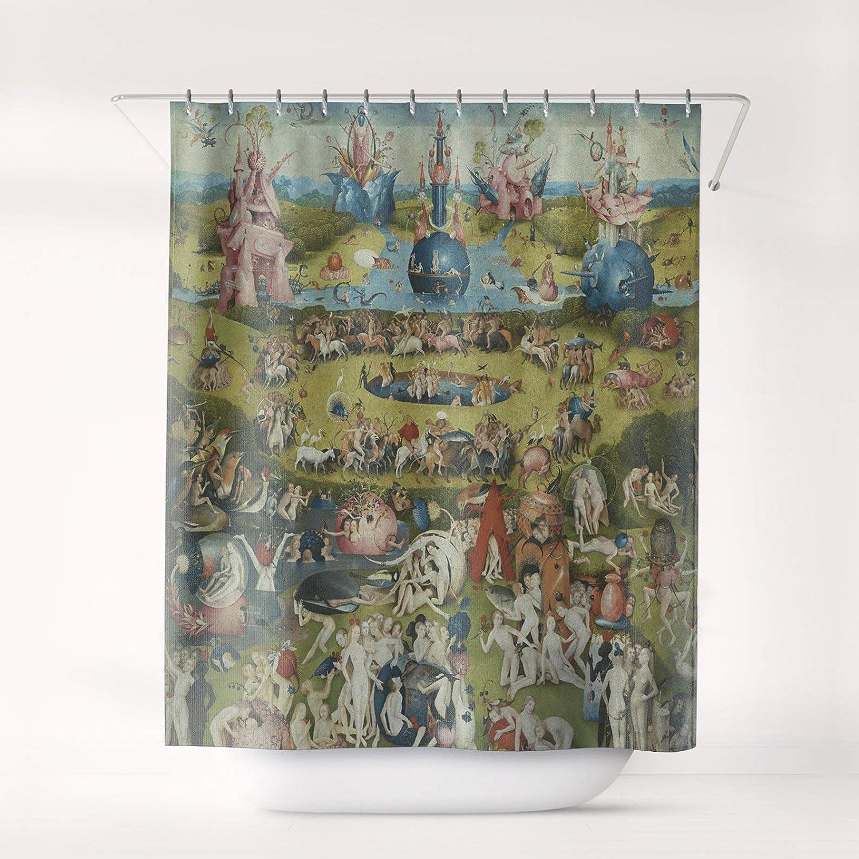 "Promini Bosch The Garden of Earthly Delights Shower Curtain Art Bathroom Decor Bath Curtain, Sc-Hbo-02 with 10 Hooks,60"" x 72"""
