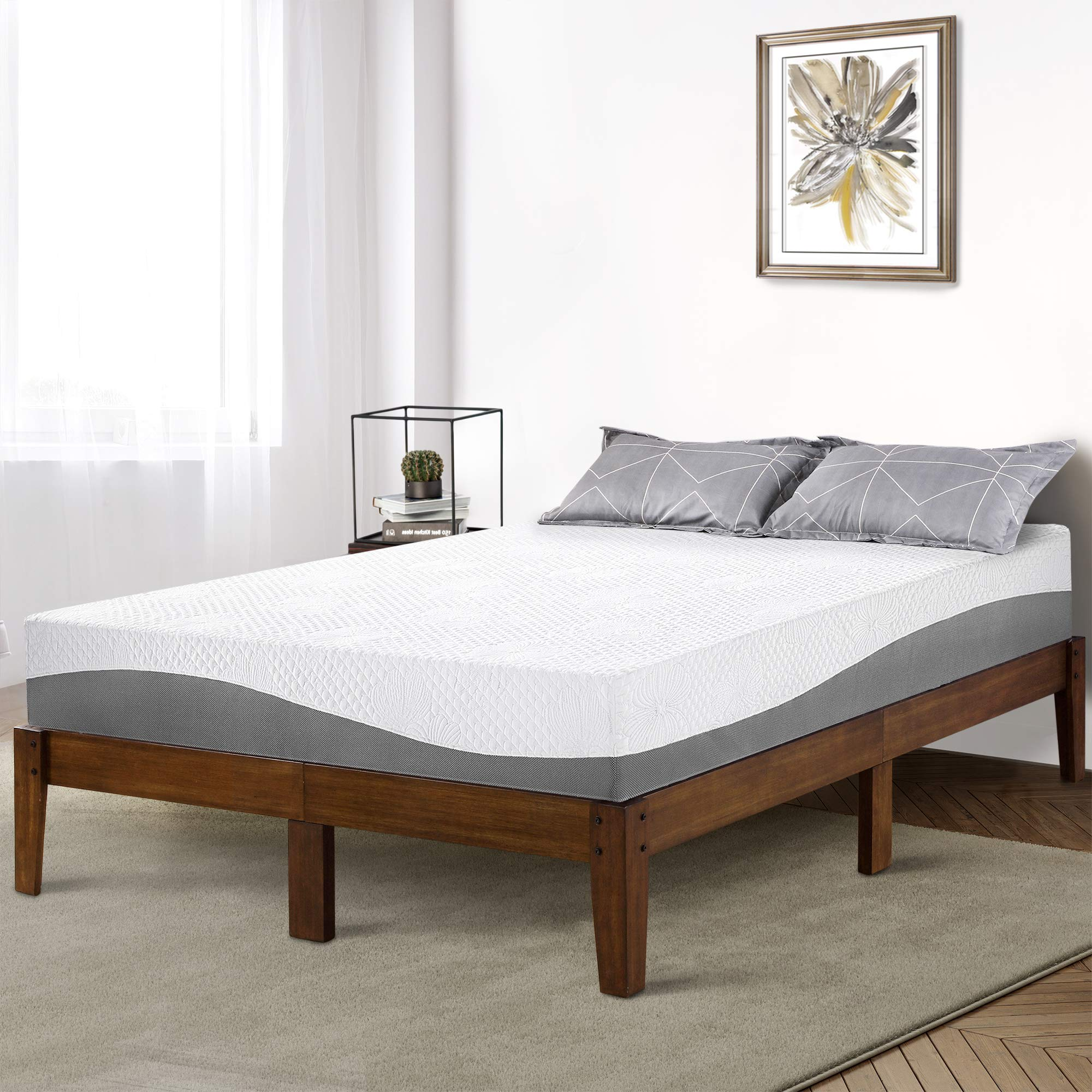 PrimaSleep 14 Inch Solid Wood Platform Bed Frame/Anti-Slip Support/No Box Spring Needed/Easy to Set Up,King,Natural Finish
