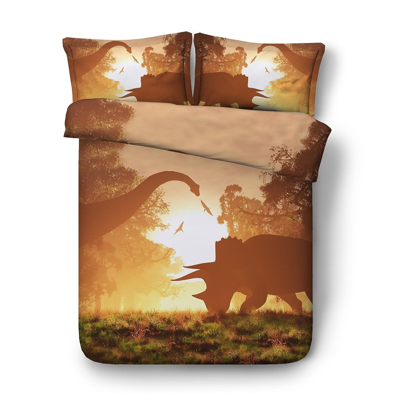 EsyDream Jurassic Period 3D Oil Dinosaur Men's Bedding Quilt Cover Twin King Queen Size Jurassic World Dinosaur Boys Bedding Duvet Bedlinen 3pc/Set No Quilt(Twin,Color 13) Color 13) EsyDream Home Textile