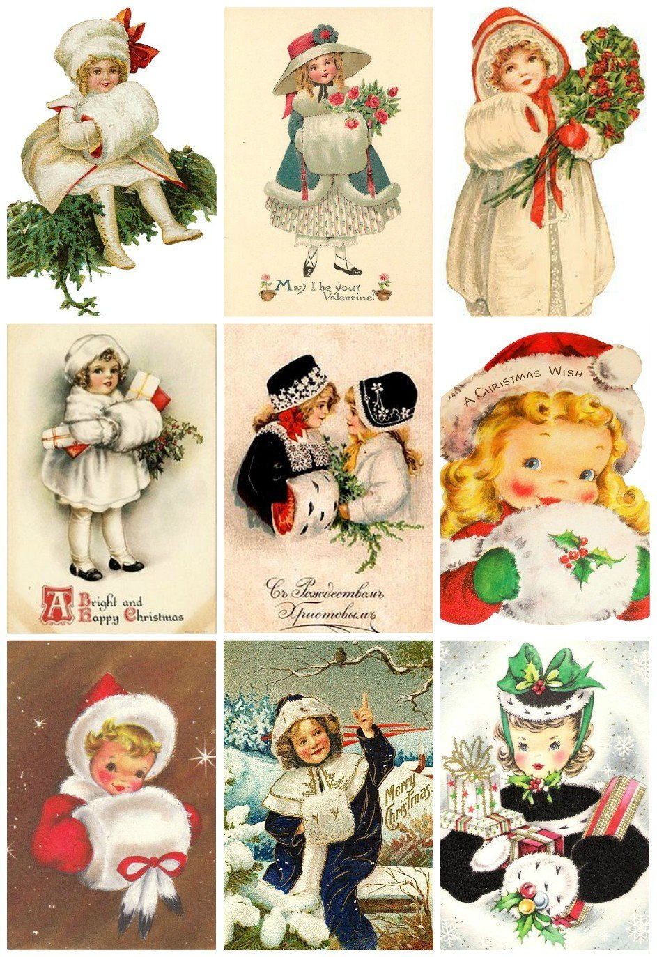 Victorian Vintage Winter Children with Muffs Christmas Cards #101 Printed Collage Sheet 8.5 x 11 Paper Moon Media