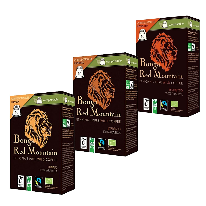 Bio Bonga Red Mountain kompostierbare Kaffeekapseln Probierset 3 Sorten: Espresso, Lungo und Ristresso (insgesamt 30 Kapseln)