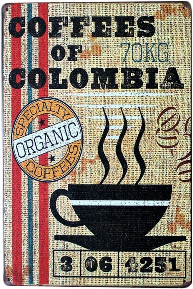 Cafés de Colombie Rétro Métal Signe//Plaque Cafe Cuisine Cadeau