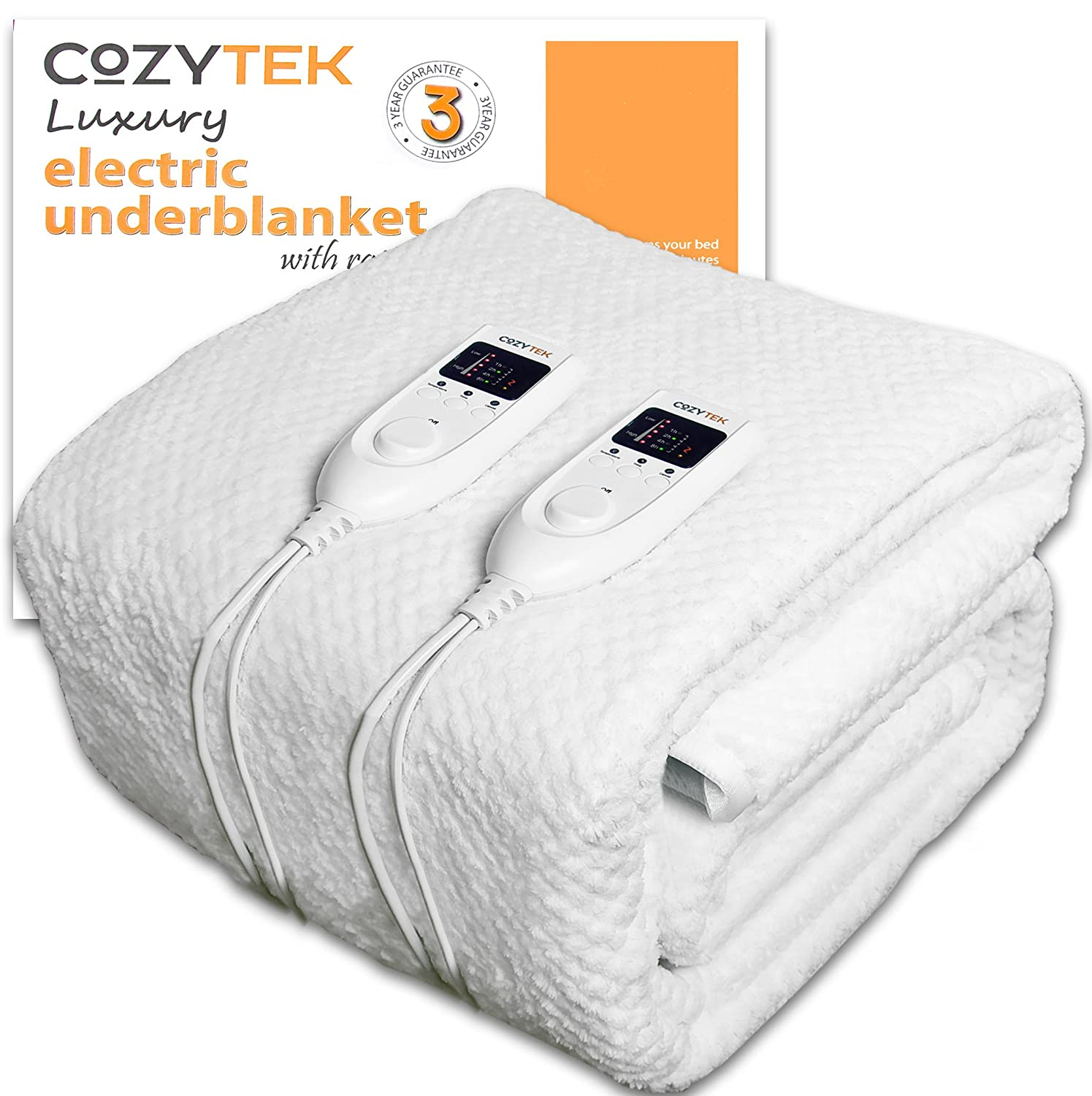 Double Electric Blanket Dual Control Double Bed Full Size 193 x 137cm Fully Fitted Heated Waffle Soft Fleece Under blanket Elasticated Skirt With Timer, 5 Comfort Settings Machine Washable Body Heating Function, Quick Heat Up Cozytek