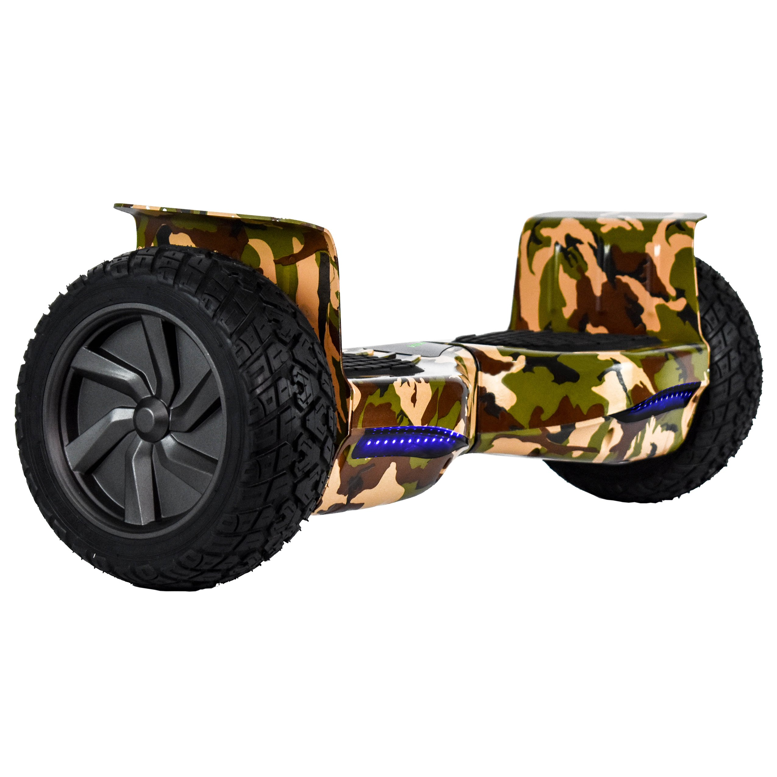 CHO All Terrain Black Rugged 8.5 Inch Wheels Hoverboard Off-Road Smart Self Balancing Electric Scooter With built-In Bluetooth Speaker LED Lights UL2272 Certified (Green Camouflage)