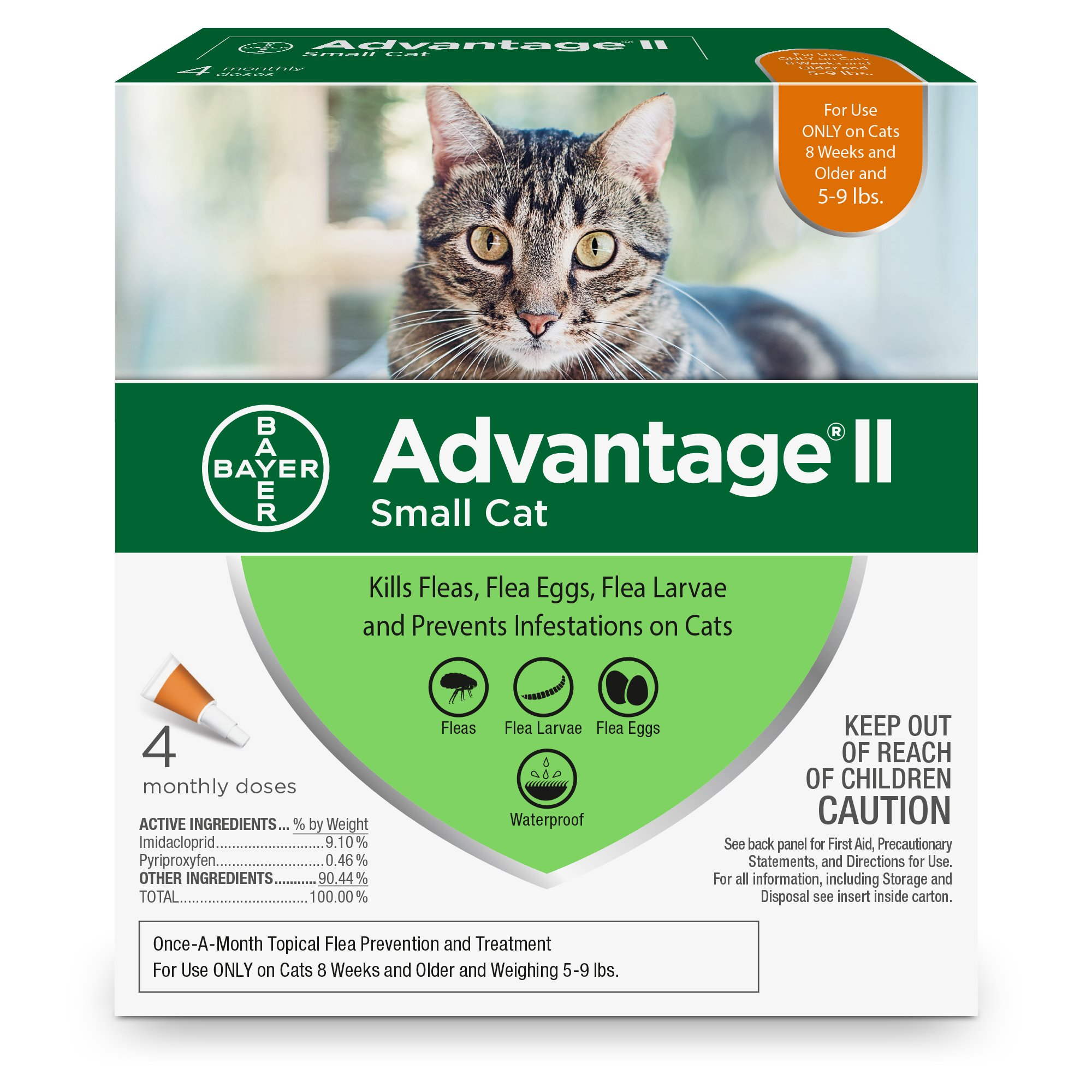 Bayer Advantage II Flea Treatment for Small Cats, 5-9 lb, 4 doses