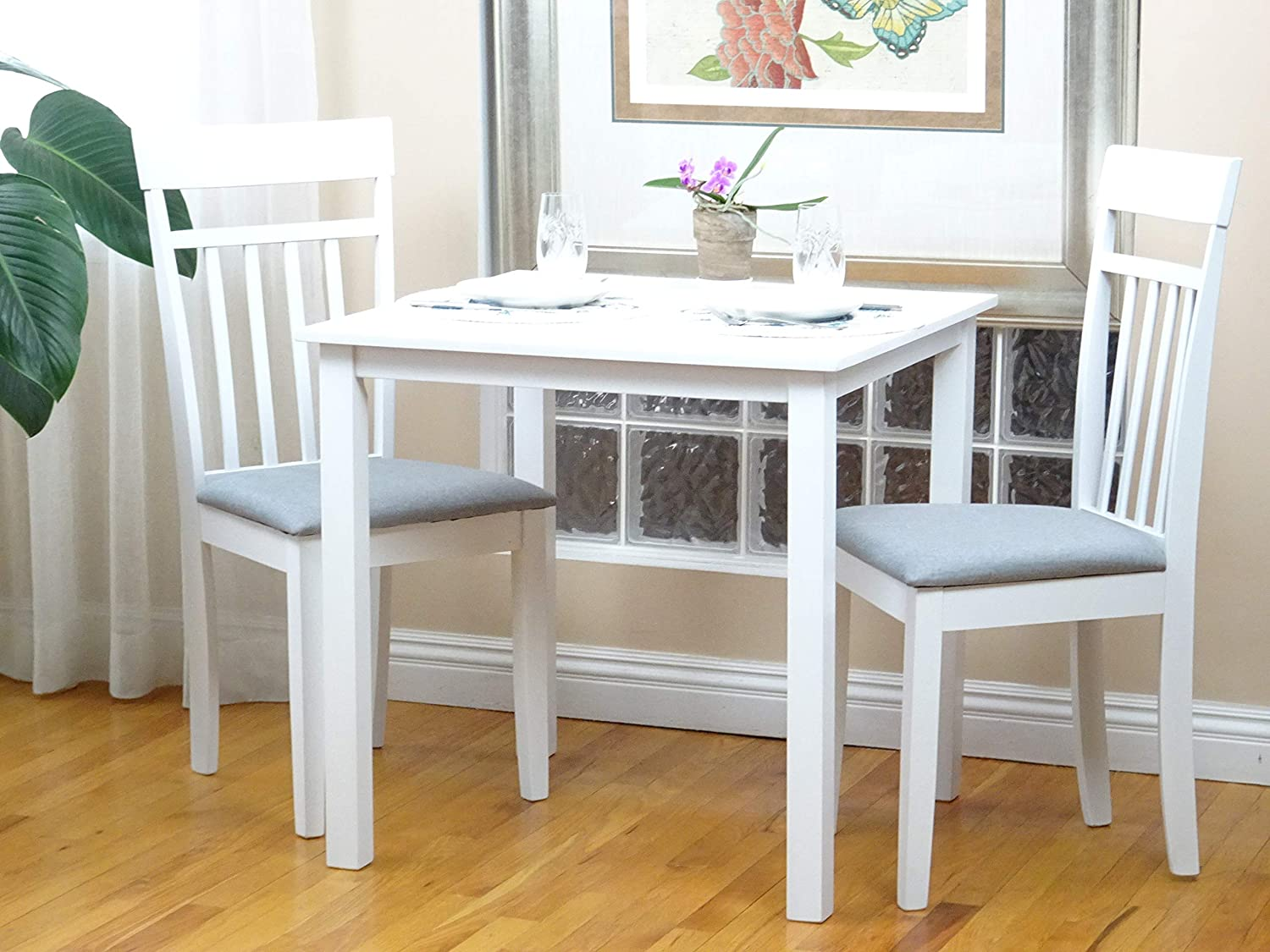 SunBear Furniture Dining Kitchen Set of 3 Square Table and 2 Side Warm Chairs Classic Solid Wood in White Finish