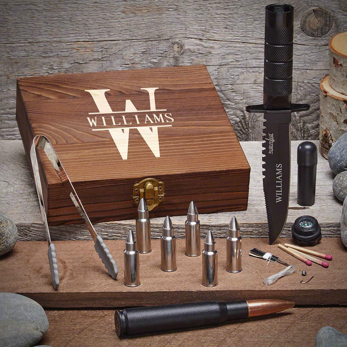Oakmont Custom Bullet Whiskey Stones & Tactical Knife Set (Customizable Product)