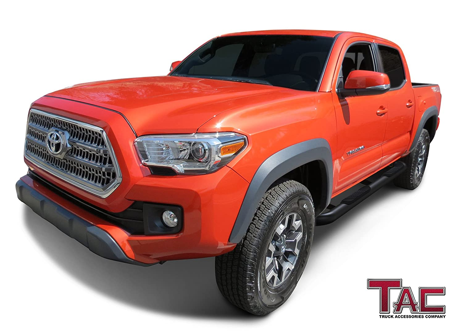TAC Side Steps Fit 2005-2019 Toyota Tacoma Double Cab Truck Pickup 3 Black Side Bars Nerf Bars Step Rails Running Boards Rock Panel Off Road Exterior Accessories 2 Pieces Running Boards