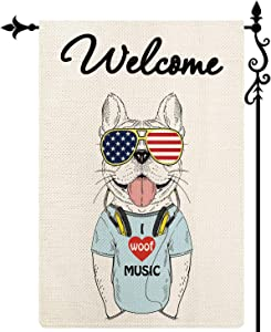 Coskaka Welcome Woof Music Dog Garden Flag,Patriotic Strip and Star Vertical Double Sided Black White Strips Rustic Farmland Burlap Yard Lawn Outdoor Decor 12.5x18 Inch