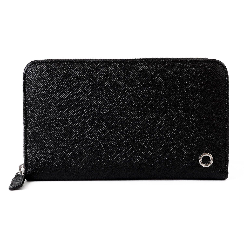 [名入れ可] (ブルガリ) BVLGARI 正規品 Wallets Zip Around レザー ロング ウォレット ラウンドファスナー 本革 長財布 284230 B077QC64V1 名入れなし|ブラック ブラック 名入れなし
