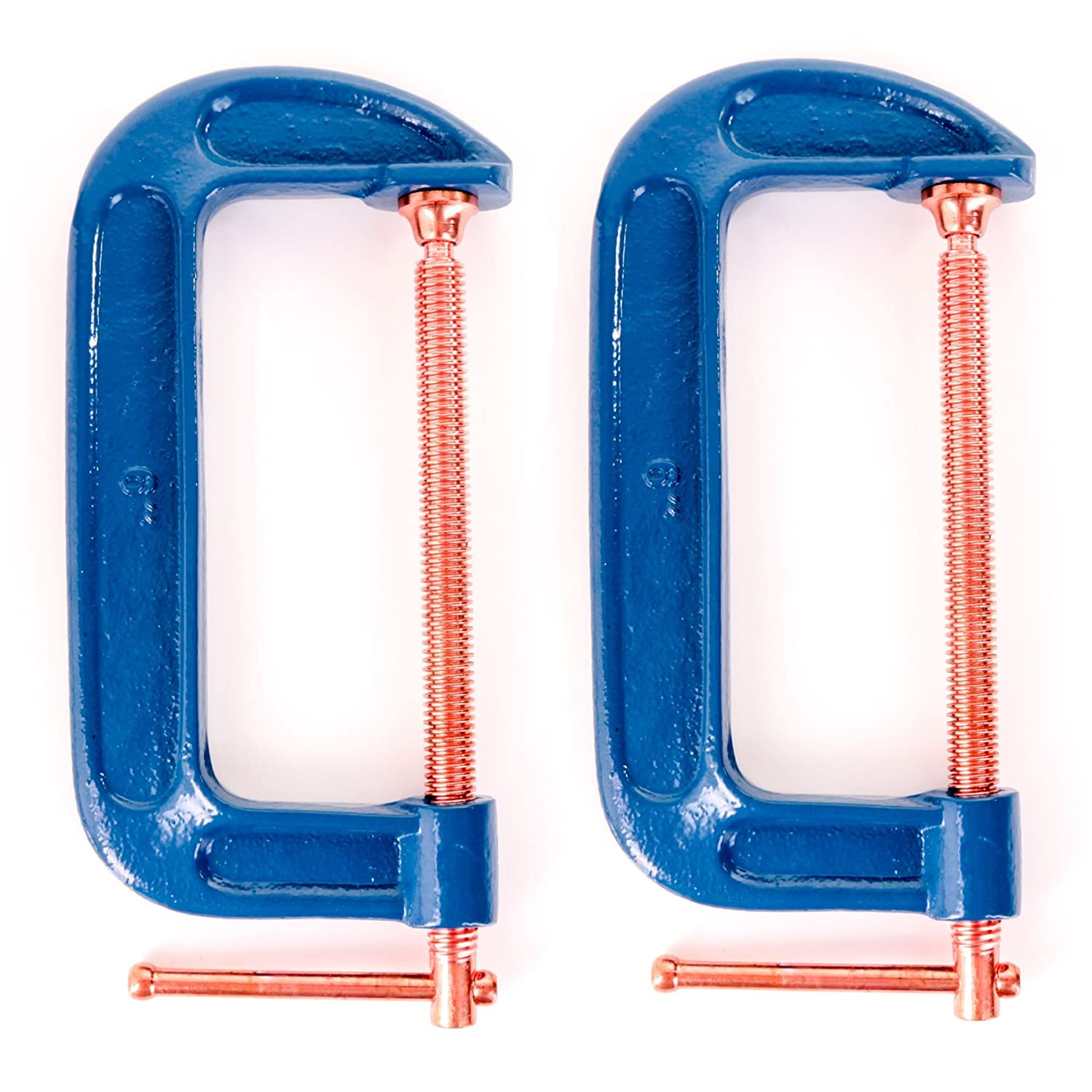 2x Large 150mm/6' Reinforced Cast Iron G Clamps White Hinge