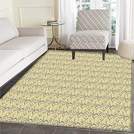 amazon com yellow and green area rug chamomile with retro design rh amazon com