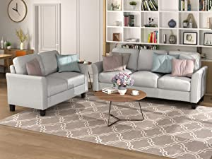 Harper & Bright Designs Living Room Furniture Set Loveseat Sofa and 3-Seat Sofa Couches Linen Fabric Upholstered Sofa Set, Light Gray
