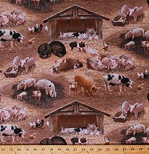 Cotton Pigs Piglets Piggies Hogs Boars Barnyard Fowl Chickens Barns Farming Farm Animals Brown Cotton Fabric Print by The Yard (338brown)