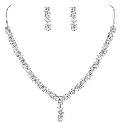 EVER FAITH® Women's Cubic Zirconia Floral Leaf Necklace Earrings Set Silver-Tone LMWI2c2