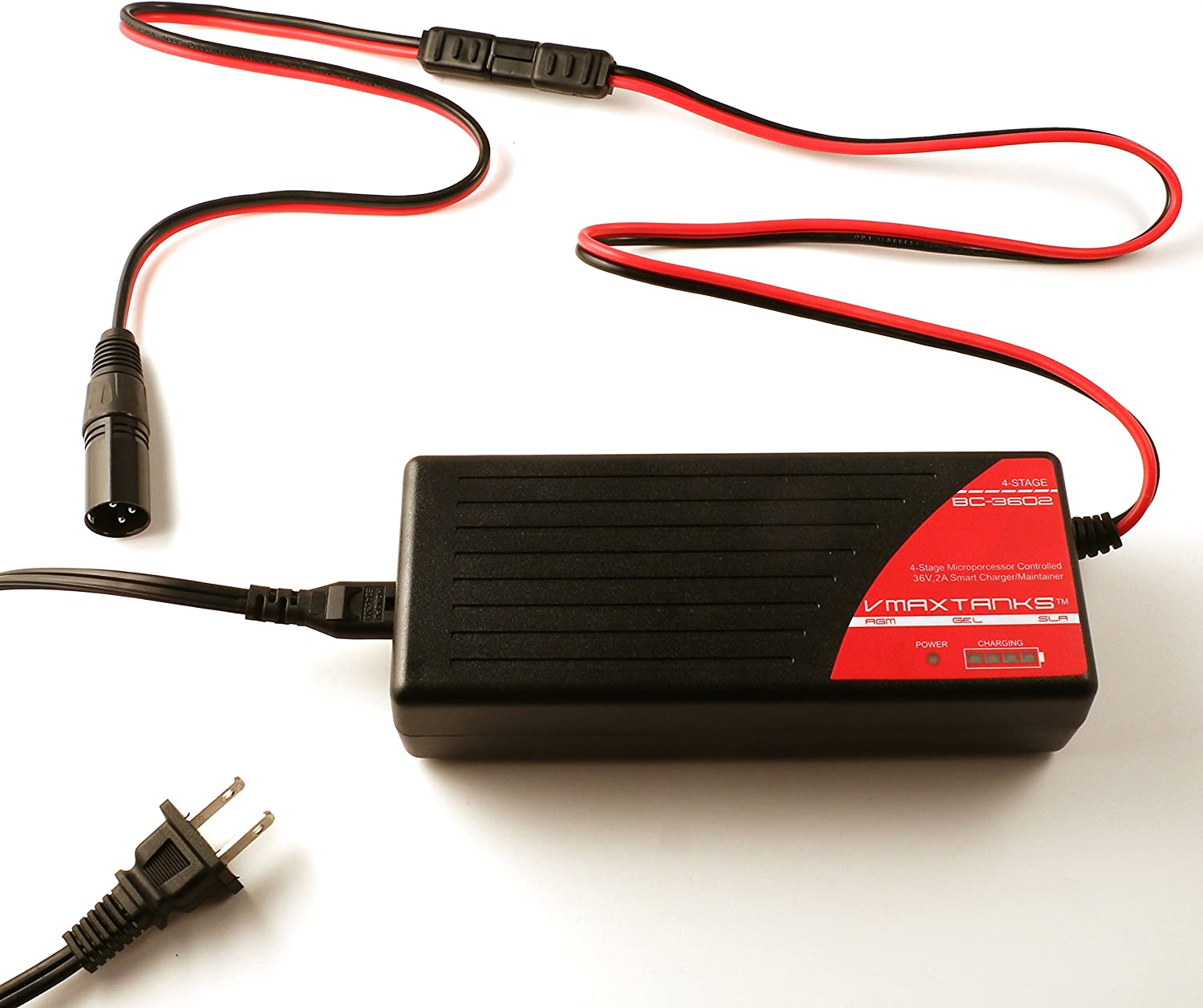amazon.com: bc3602 + xlr 3 pin male connector: vmax bc3602 36v 2 amp  4-stage smart battery charger and maintainer: sports & outdoors  amazon.com