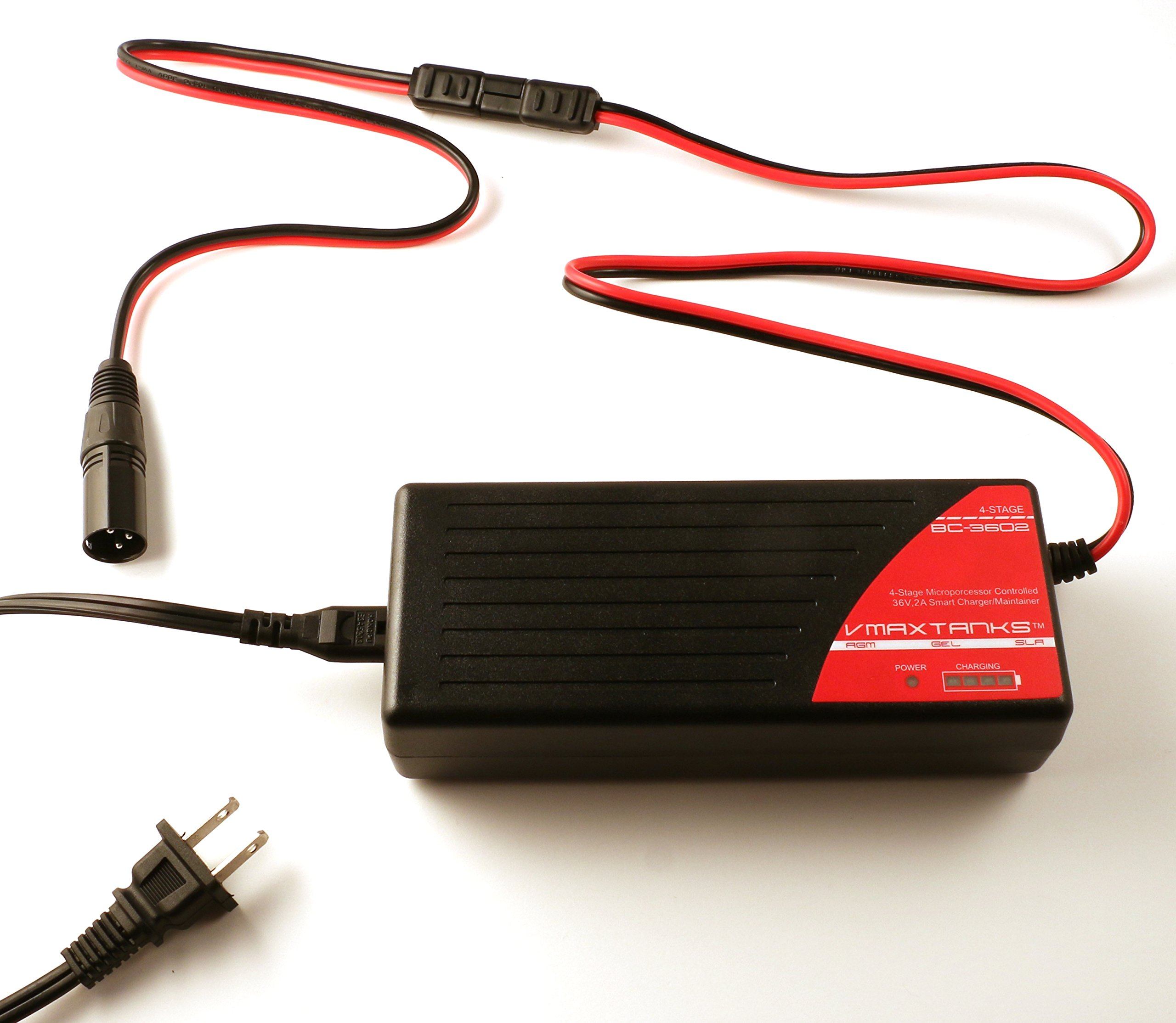 BC3602 + XLR 3 Pin Male Connector: VMAX BC3602 36V 2 Amp 4-Stage Smart Battery Charger and Maintainer