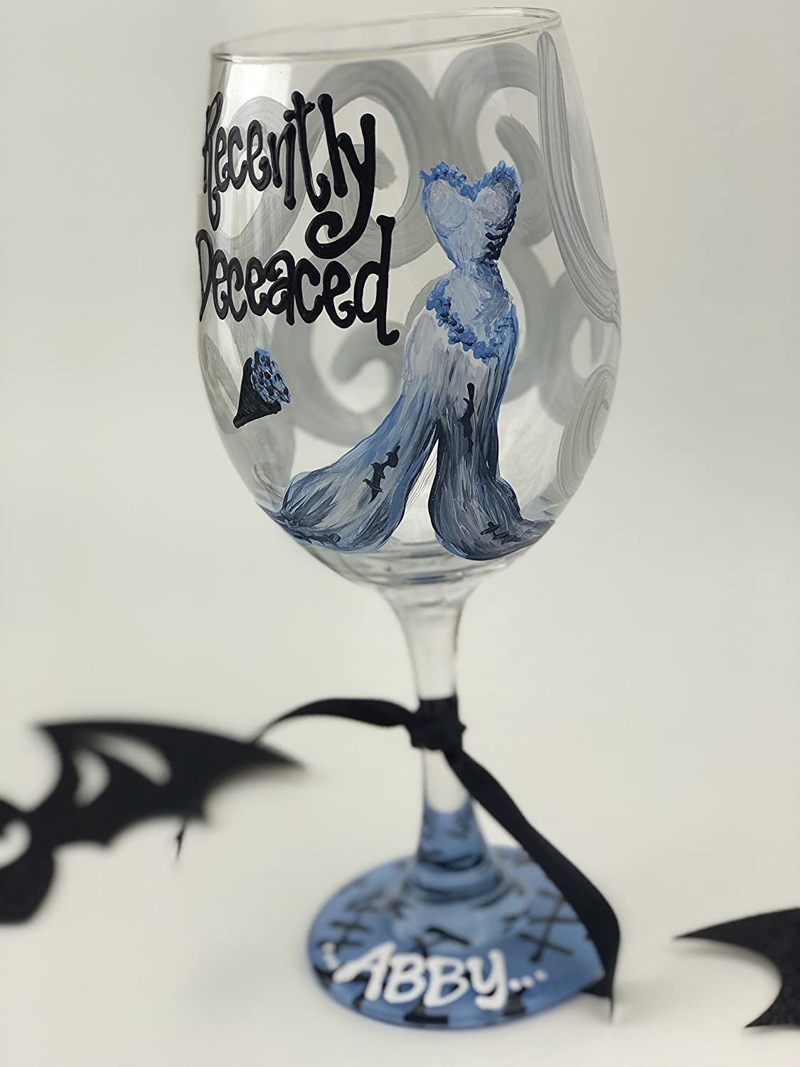hand painted personalized halloween wine glass hocus pocus nightmare before christmas beetlejuice corpse bride addams family