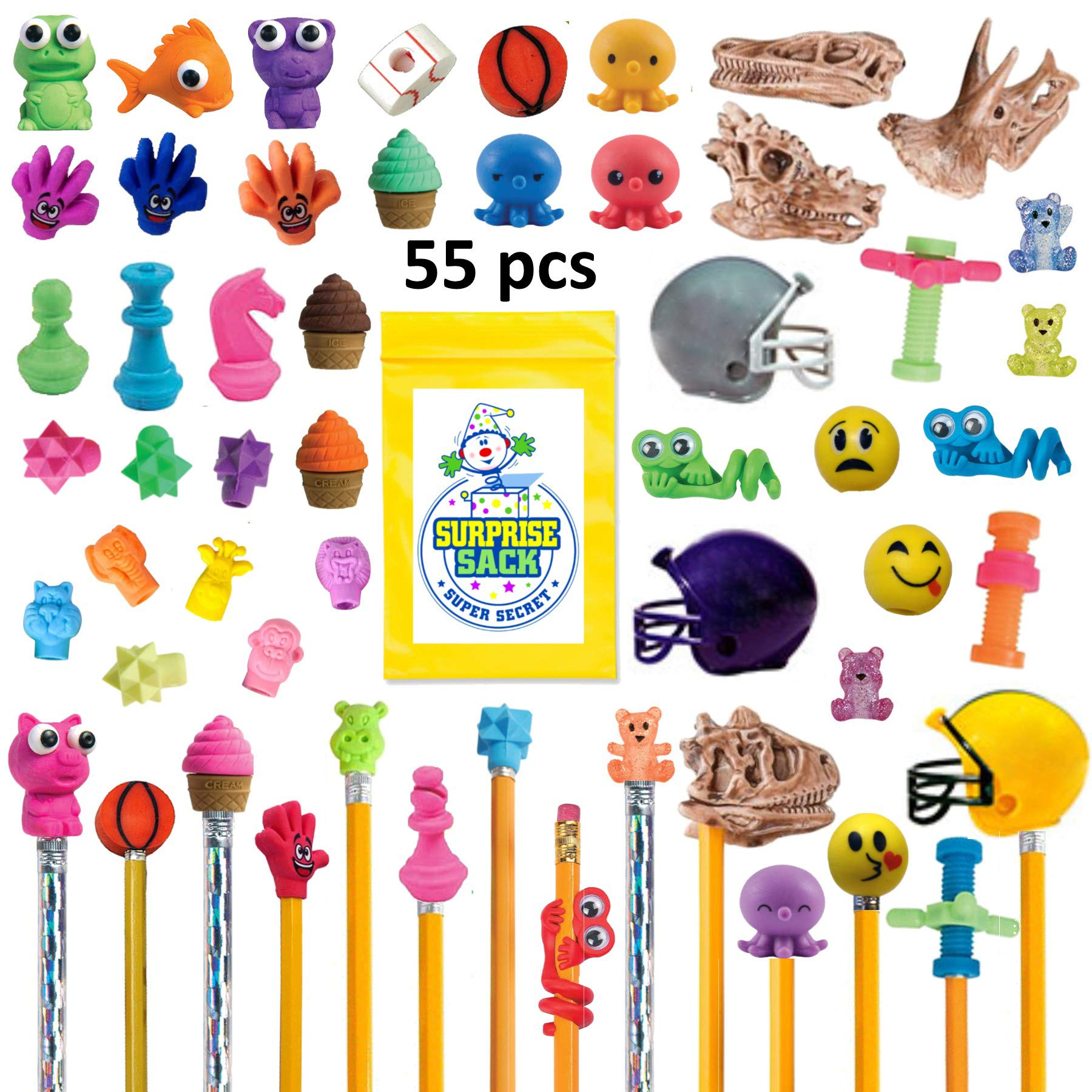 Super Secret Surprise Sack 50+ pc Amazing Pencil Topper Variety Pack (30 Eraser Pencil Toppers and 25 Fun Fidget Pencil Toppers) with 1 (TM) by Super Secret Surprise Sack