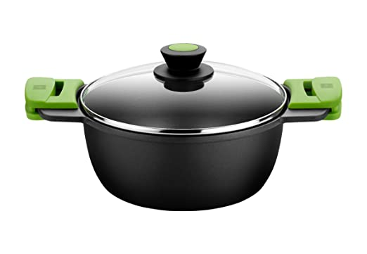 BRA PRIOR - Cacerola alta con tapa de cristal y asas de silicona extraíbles, 20 cm, apta para todo tipo de cocinas incluida inducción y horno.Libre de ...