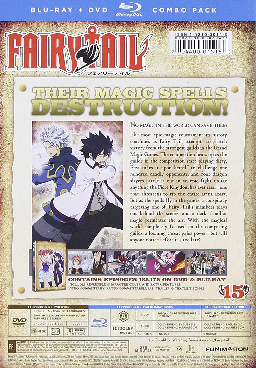 Fairy Tail: Part 15 4 Blu-Ray Edizione: Stati Uniti Italia Blu-ray: Amazon.es: Cine y Series TV
