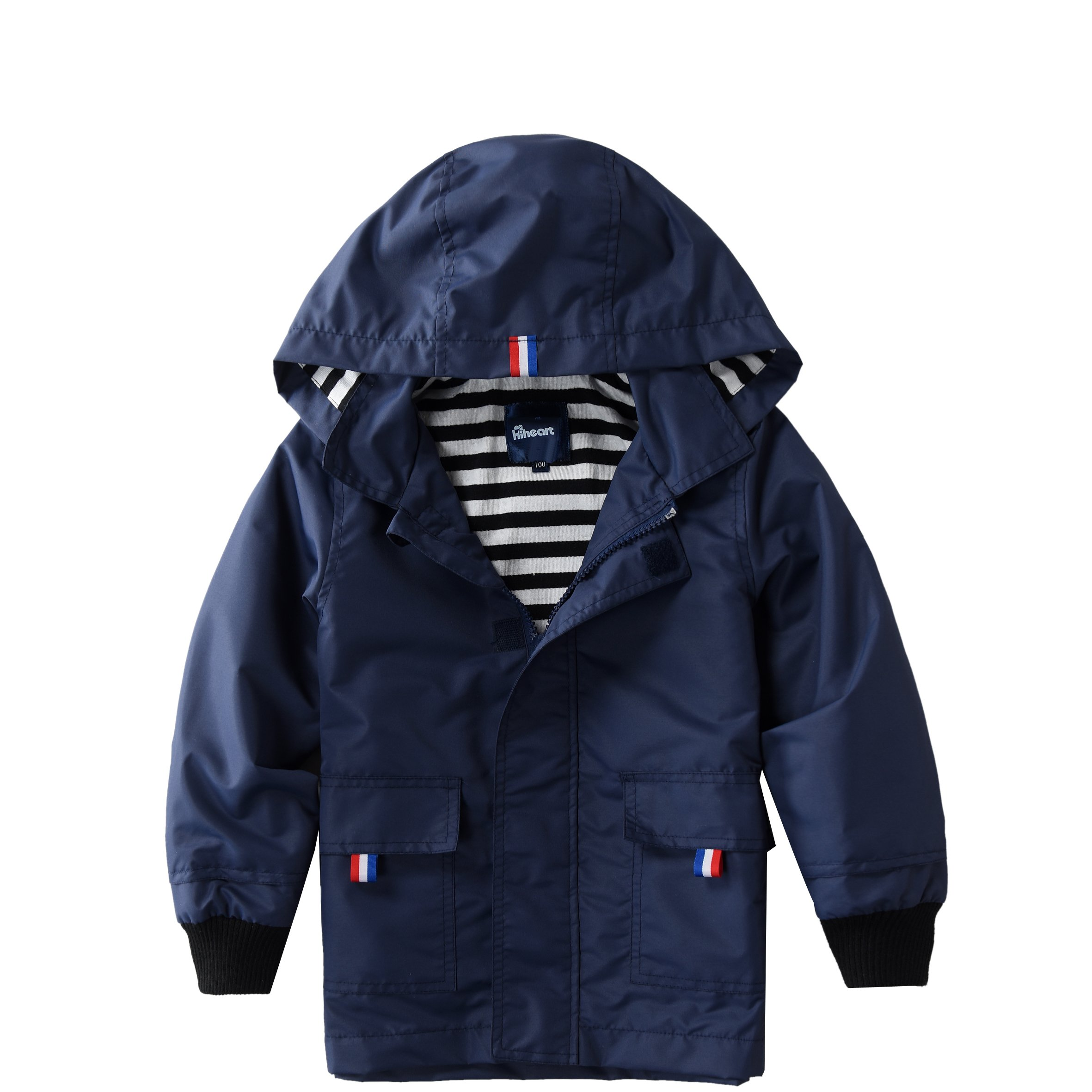 Hiheart Boys Waterproof Hooded Jackets Cotton Lined Rain Jackets Dark Navy 6/7