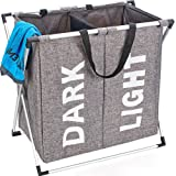 HOMEST 2 Sections Laundry Hamper Bag with Folding