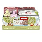 Huggies Newborn Gift Box - Little Snugglers Diapers (Size Newborn 24 Ct & Size 1 32 Ct), Natural Care Unscented Baby Wipes (96 Ct Total), and Johnson's Shampoo & Baby Lotion