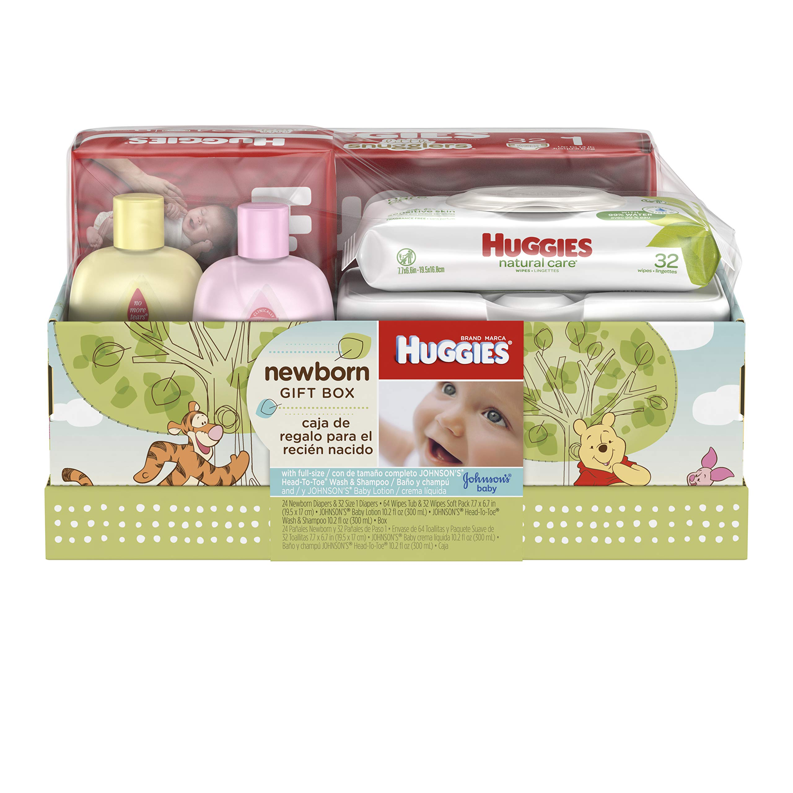Huggies Newborn Gift Box - Little Snugglers Diapers (Size Newborn 24 Ct & Size 1 32 Ct), Natural Care Unscented Baby Wipes (96 Ct Total), and Johnson's Shampoo & Baby Lotion (Packaging May Vary) by HUGGIES