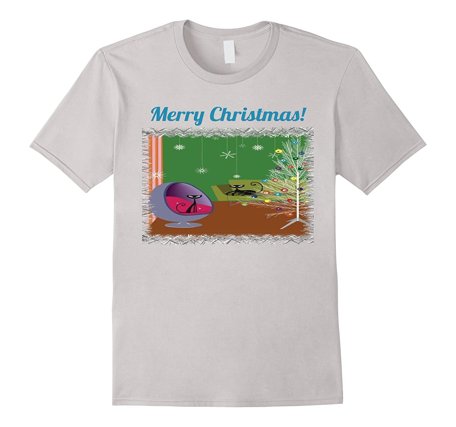 retro christmas t shirt mid century modern two cats tree cl