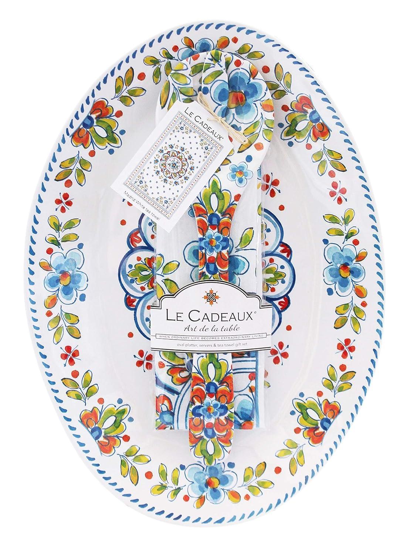 Le Cadeaux マドリード ホワイトメラミン 16インチ 楕円形大皿 サラダサーバー ティータオルセット   B07P5K2VNJ