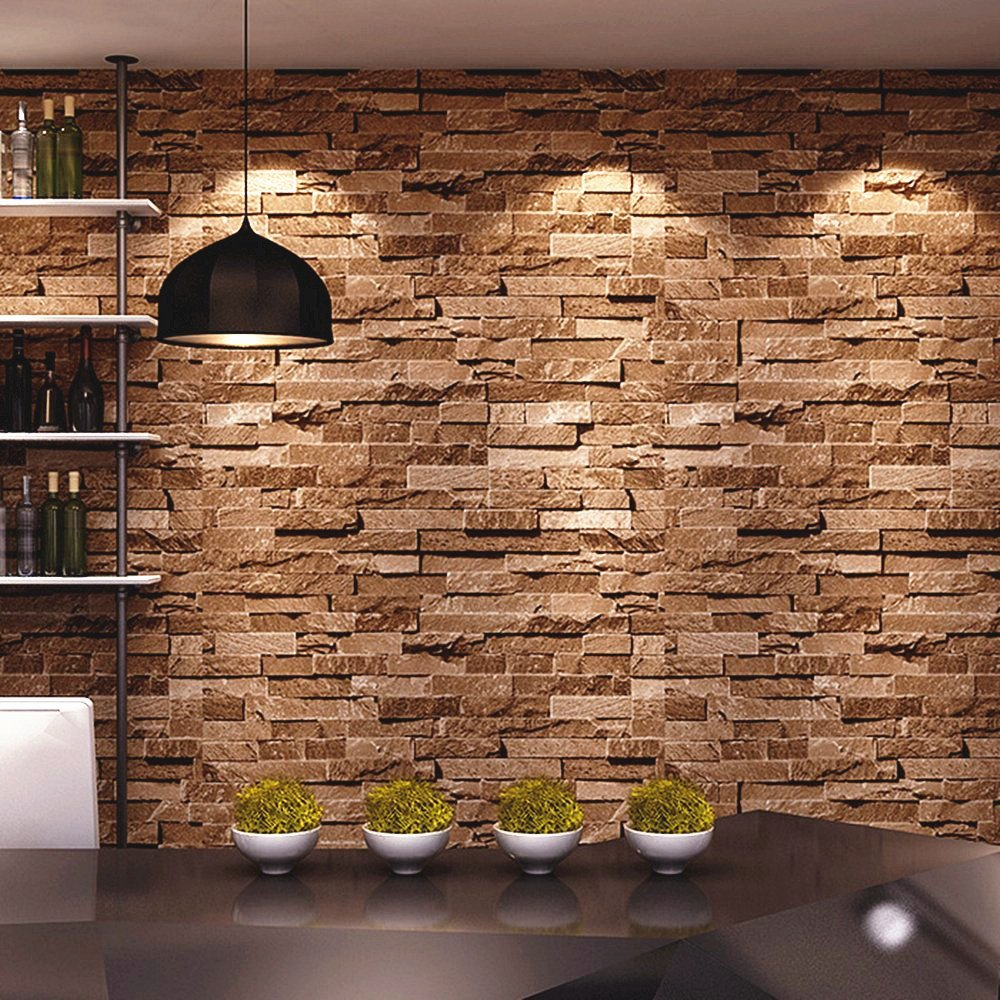 Interior Stone Wall Kitchen: Faux Brick Wallpaper: Amazon.com