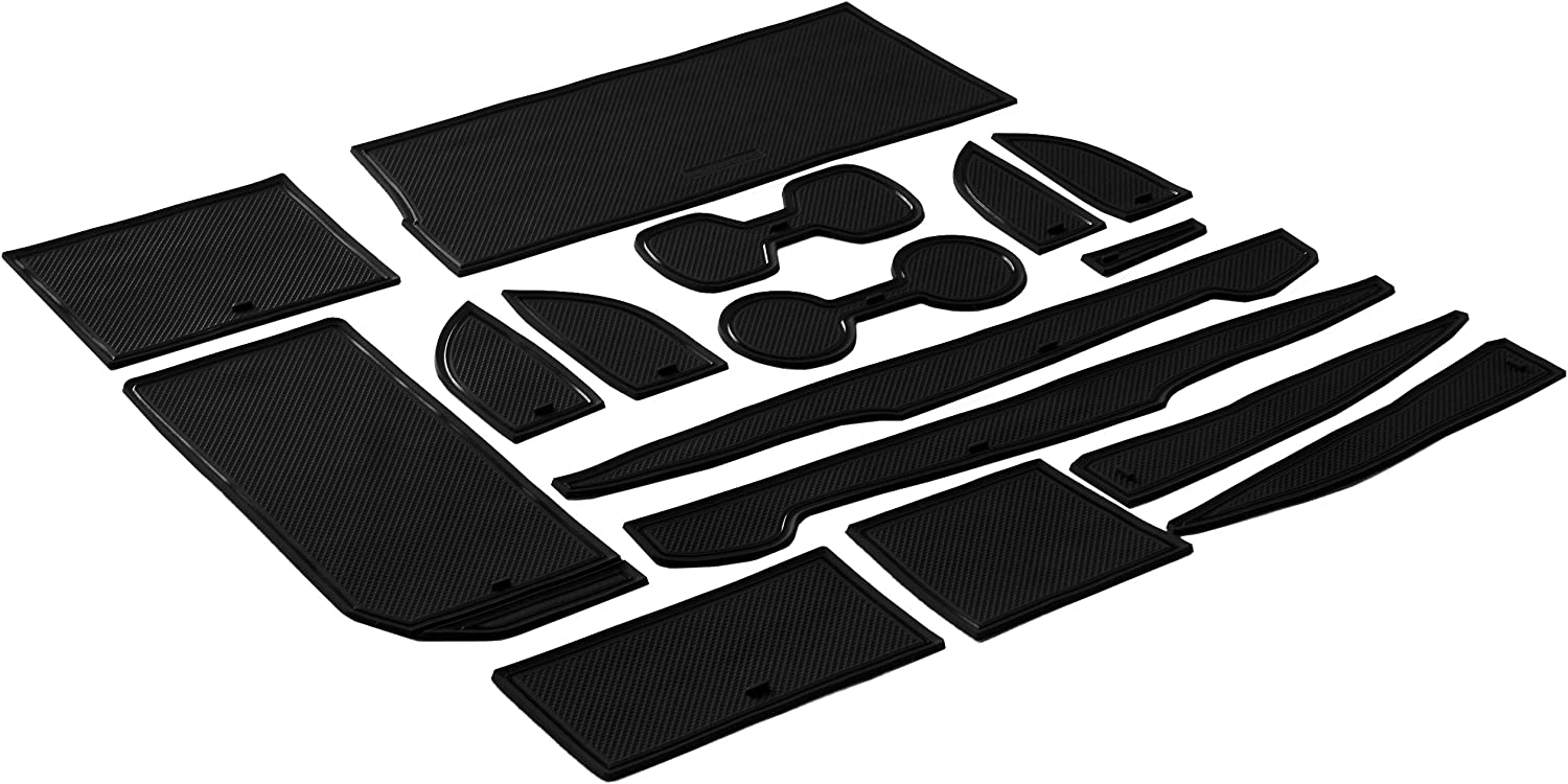 CupHolderHero for Toyota Camry 2018-2020 Custom Liner Accessories and Door Pocket Inserts 16-pc Set Solid Black Premium Cup Holder Console