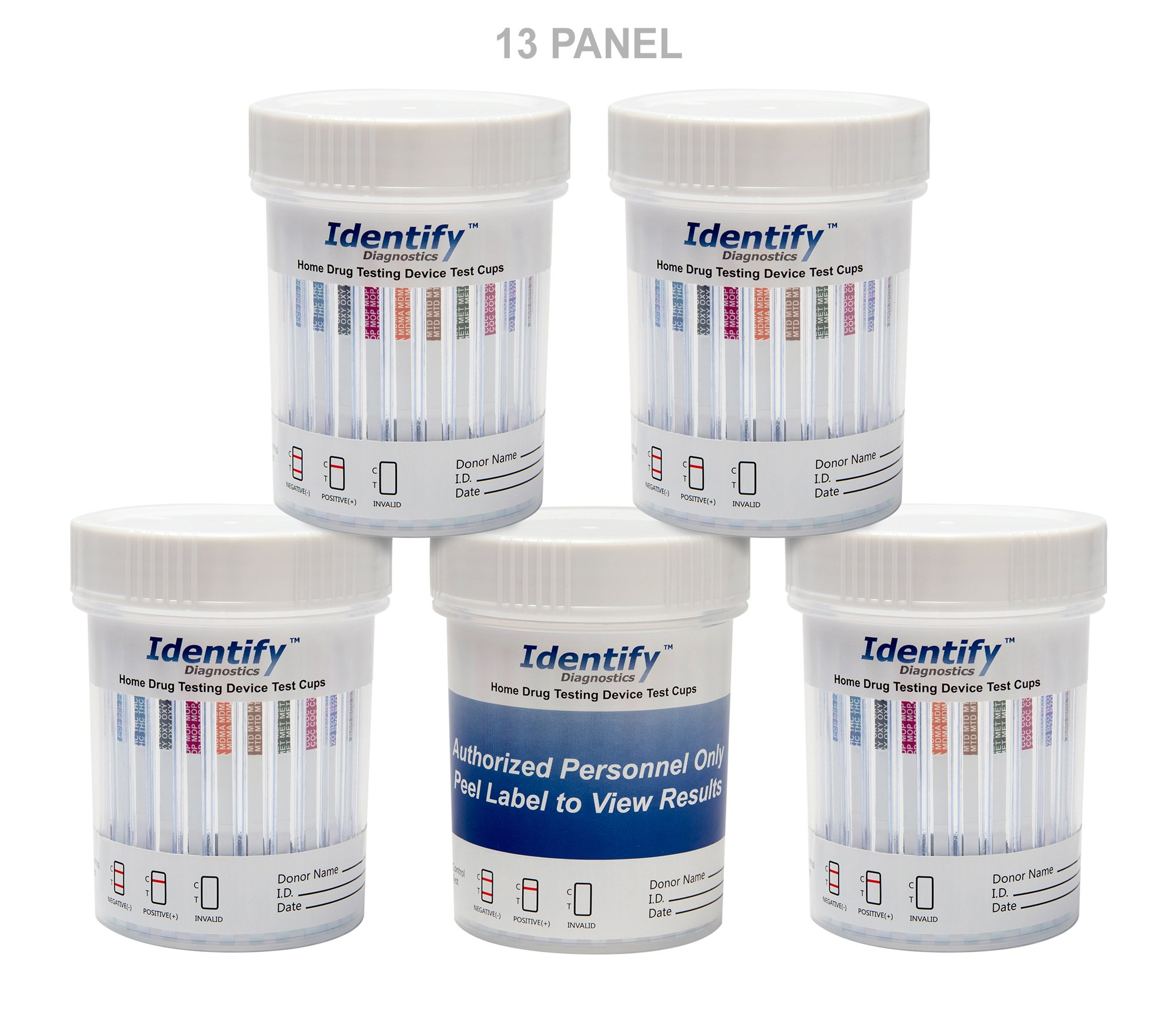 25 Pack Identify Diagnostics 13 Panel Drug Test Cup with BUP Testing Instantly for 13 Drugs: THC, COC, OXY, MDMA, BUP, MOP, AMP, BAR, BZO, MET, MTD, PCP, TCA #ID-CP13