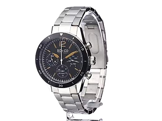 Amazon.com: SO&CO New York Mens 5032.1 Yacht Timer Quartz Multifunction Stainless Steel Link Bracelet Watch: Watches